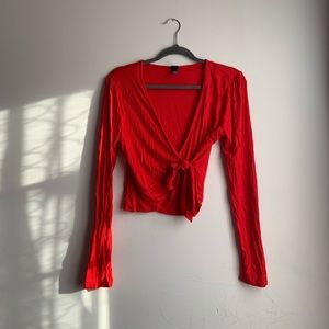 Red long sleeve front tie top